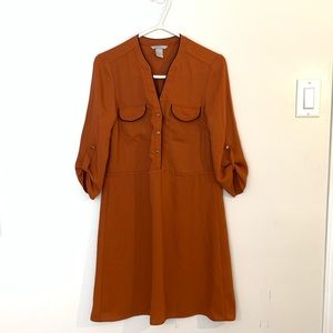 H&M Orange 3/4 Midi dress size 4/ Small or Medium